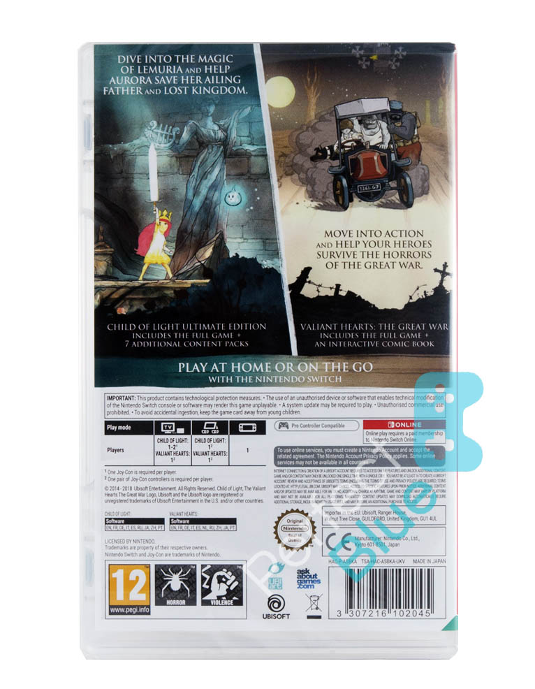 Gra Nintendo Switch Child of Light Ultimate Edition + Valiant Hearts The Great War