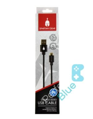 Spartan Gear Kabel micro USB PS4 Xbox One / Dwustronne Wtyczki / 3m