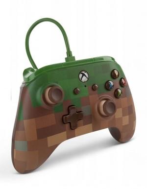 PowerA / Pad Kontroler Przewodowy Minecraft Blok Trawy / 2 dodatkowe guziki! / Xbox One / PC