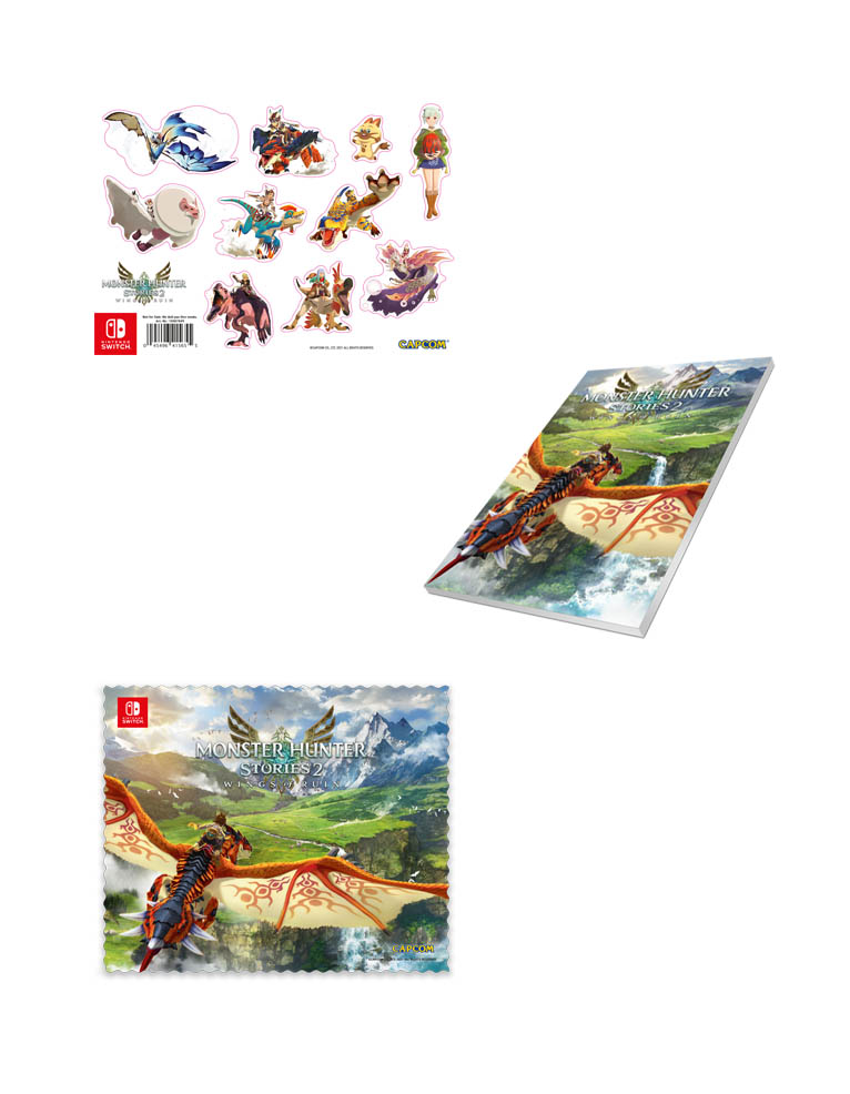 monster hunter stories 2 wings of ruin gra ninteno switch sciereczka notes naklejki
