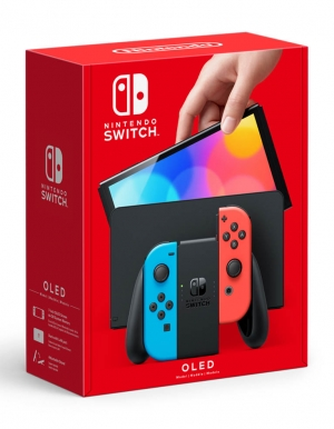 konsola nintendo switch oled red blue neon