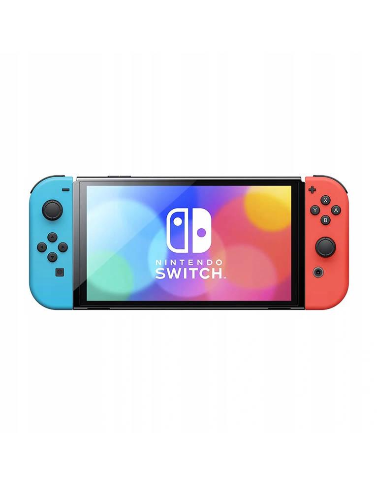 konsola nintendo switch oled red blue neon 4